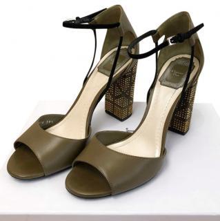 Dior Studded Block Heeled Sandals