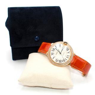 Cartier Ballon Bleu 42mm 18K Gold Sapphire and Diamond Watch