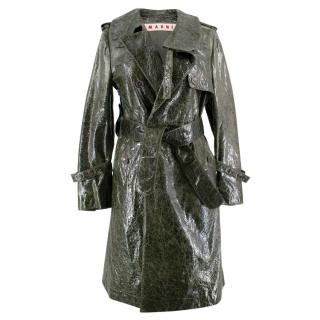 Mani Textured Leather Trench Coat