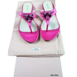 Mui Mui pink satin sandals
