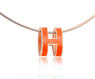 Hermes Pop H Orange and Silver Pendant