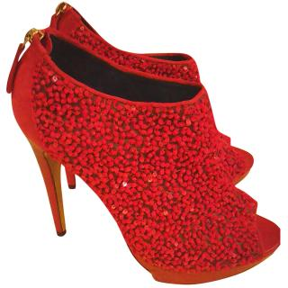 Pollini Bead Embellished Red Booties