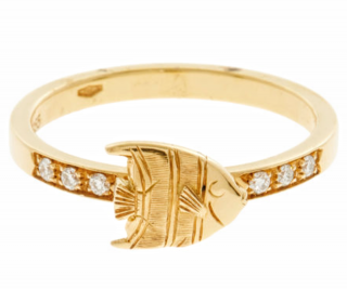 Theo Fennell 18ct Gold & Diamond Angel Fish Ring