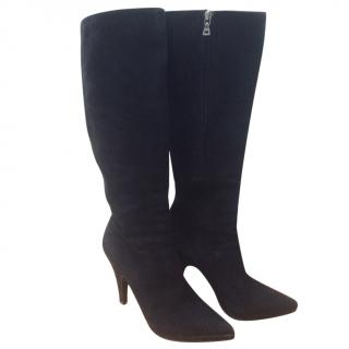 Prada Black Suede Heeled Knee Boots