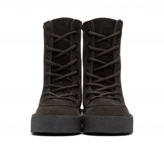 YEEZY Season 4 oil thick dark brown suede boots