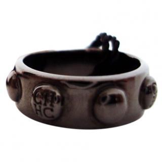 Carolina Herrera black silver plated ring