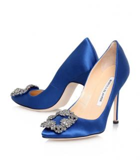 Manolo Blank Blue Satin Hangisi 105 Pumps