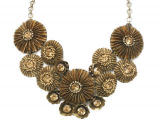 Deepa Gurnani Hand Embroidered Golden Necklace