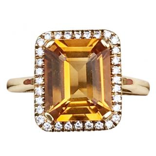 Bespoke 18ct Gold Citrine & Diamond Cocktail Ring