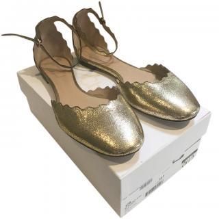 Chloe Scalloped Gold Ballerina Flats