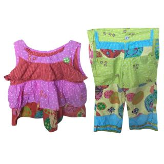 Designer Oilily girl's multicoloured top and trouser set