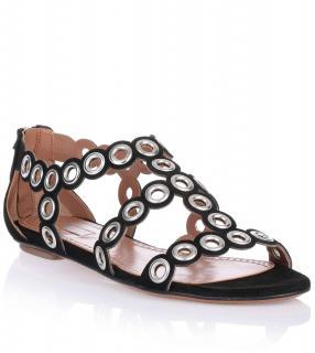 Azzedine Alaia Eyelet Black Suede Sandals