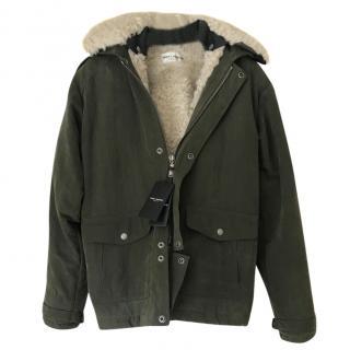 Saint Laurent Shearling Lined khaki Coat