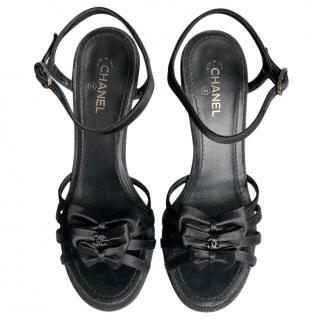 Chanel Bow Embellished Satin Sandals