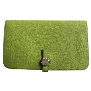 Hermes Dogon Duo Green Leather Wallet