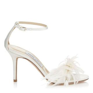 Jimmy Choo Vivien 85 Satin with Feather Bow Sandals