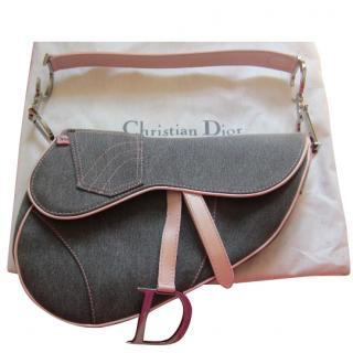 Dior Vintage Pink and Grey Denim Saddle bag