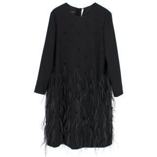 Escada Current Season Feather Embellished Dress