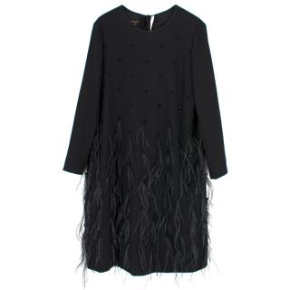 Escada Current Season Feather Embellished Dress