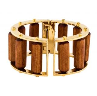 Lele Sadoughi Wood Hinged Slider Bracelet