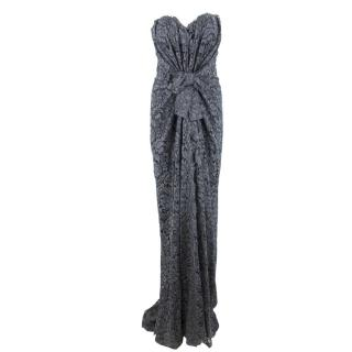 Dolce & Gabbana Grey Lace Ruched Gown