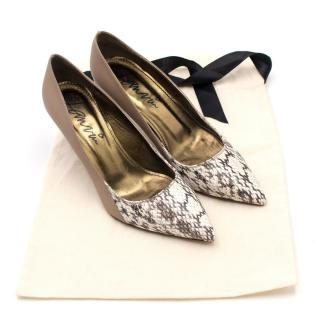 Lanvin Nude Leather and Python Pumps