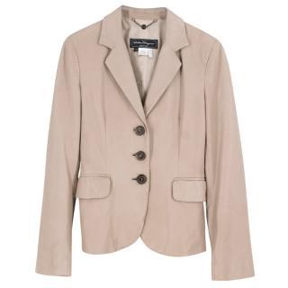 Salvatore Ferragamo Beige Leather Jacket