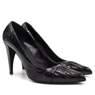 Prada Black Textured Patent Pumps