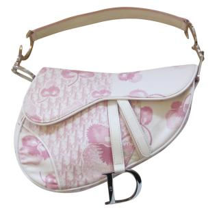 Dior Pink and White floral Saddle Bag
