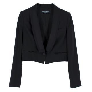 Dolce & Gabbana Wool & Silk Cropped Tuxedo Blazer