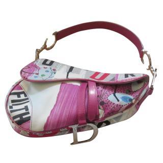 Dior Limited edition Vintage Pink Floral Saddle Bag