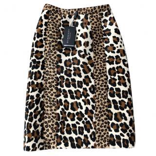 Burberry Prorsum Calf Hair Animal Print Skirt