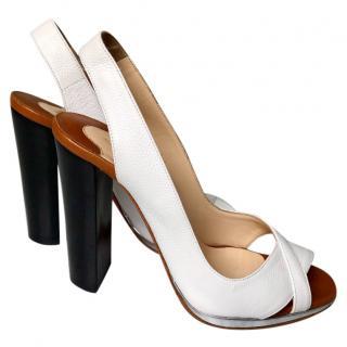 Christian Louboutin White Slingback Sandals