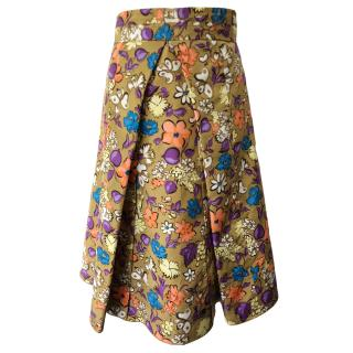 Marc Jacobs floral and butterfly print gold pleated skirt