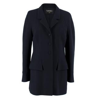 Chanel Wool Navy Longline Blazer