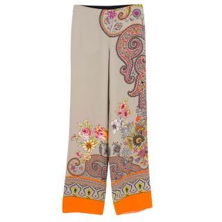 Etro Paisley Silk Trousers