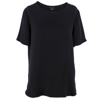 Theory Silk Black Crew Neck T-shirt