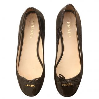 Prada patent leather ballerina shoes