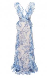 Alice McCALL Oh My Goddess open-back ruffled floral-print silk-organza