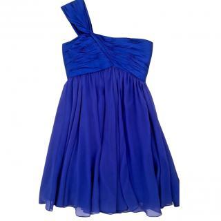 Marchesa Notte one shouldered blue silk dress