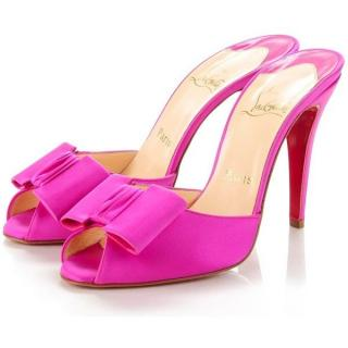 Christian Louboutin fuschia satin joli noeud slide sandals
