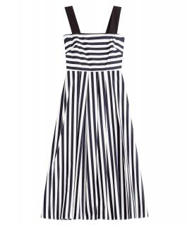 Tara Jarmon navy blue & white striped midi sleeveless dress