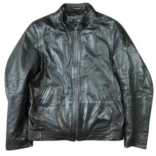 Hugo Boss Nekun Leather Biker Jacket