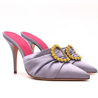 Oscar Tiye Lilac Satin Crystal Eva 100 Mules