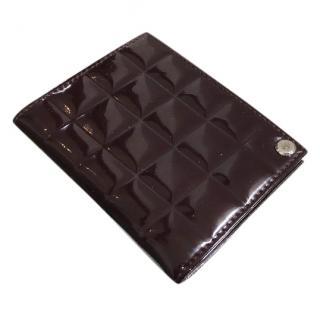 Chanel Dark Brown Choco Bar Patent Leather Cardholder