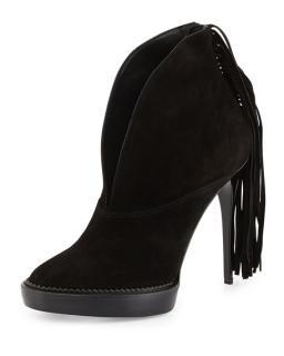 Burberry black suede fringe boots