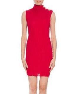 Balmain Red Knit High Neck Dress