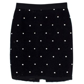 Marc Jacobs Tweed and Silk Embroidered Skirt