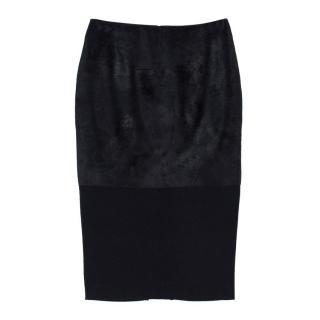 Victoria Beckham Calf Hair Panelled Felt Pencil Skirt