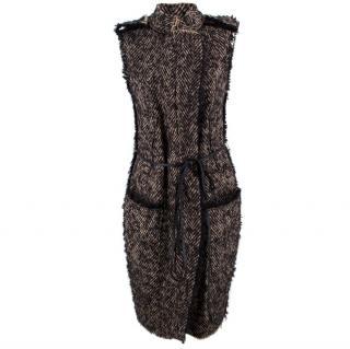 Lanvin Tweed Sleeveless Longline Jacket